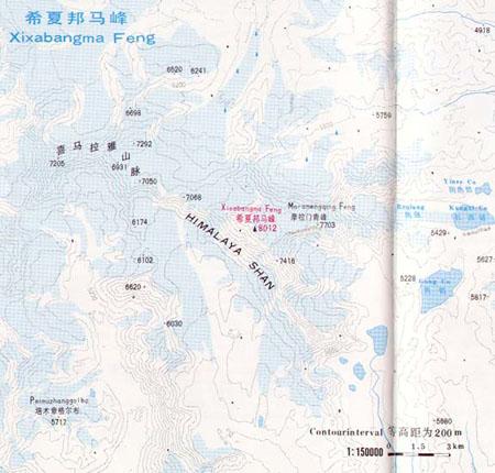 希夏邦马峰等高线图