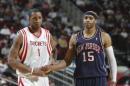 图文:[NBA]火箭VS网 麦迪向表哥致敬