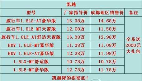 上海通用凯越厂家降1万 经销商再让1万