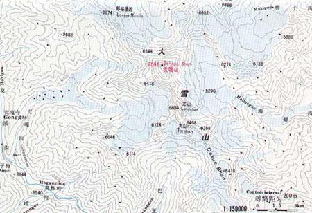 贡嘎山等高线图(二)