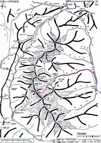贡嘎山地形图