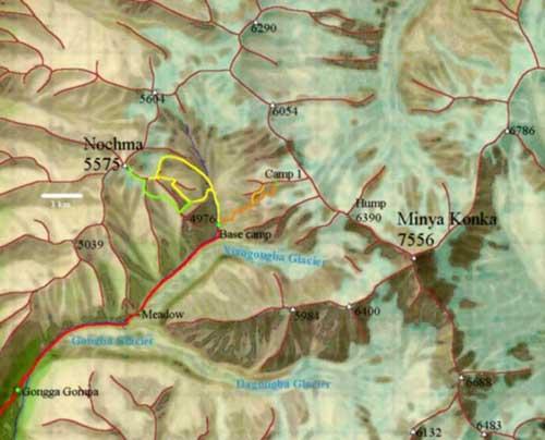 贡噶山卫星图