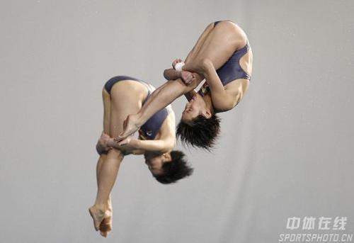 图文:游泳世锦赛贾童陈若琳夺冠 在比赛中