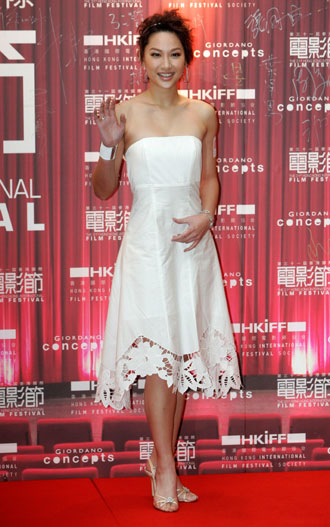 Hong Kong actress Kate Tsui poses during the gala premiere of her movie