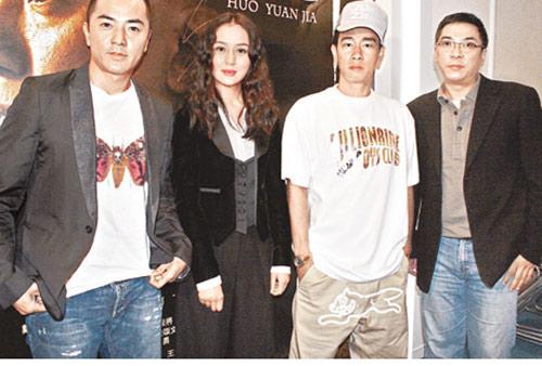 郑伊健(左起)、内地新人周牧茵、陈小春和关锦鹏,昨日出席《霍元甲》记者会。