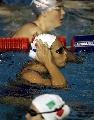 图文:游泳比赛即将开始 奥运冠军参加训练