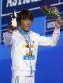 图文:男子400米自由泳 朴泰恒向观众致意