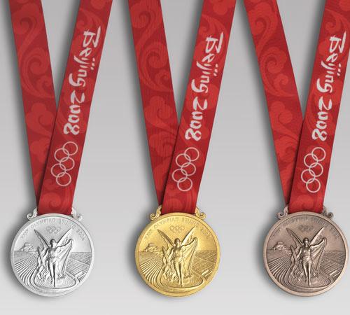 图文:北京奥运奖牌设计公布 奖牌正面长挂带