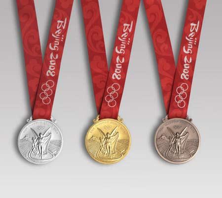 第29届奥林匹克运动会奖牌正面及授带