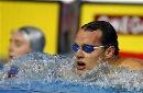 图文:男子50米蛙泳半决赛 汉森冷静对待胜利