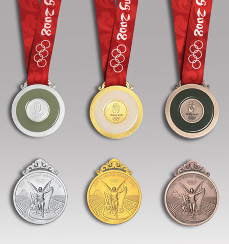 The Beijing Olympic medals are shown in this handout photograph during the Olympic Medal Launching Ceremony in Beijing March 27, 2007. The launching of the medals coincided with the 500 day countdown to the Olympic Games in China's capital which will fall on August 8, 2008.