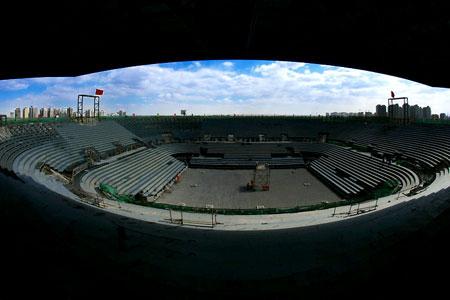 图文:奥运沙滩排球球场 主看台俯视沙排场地