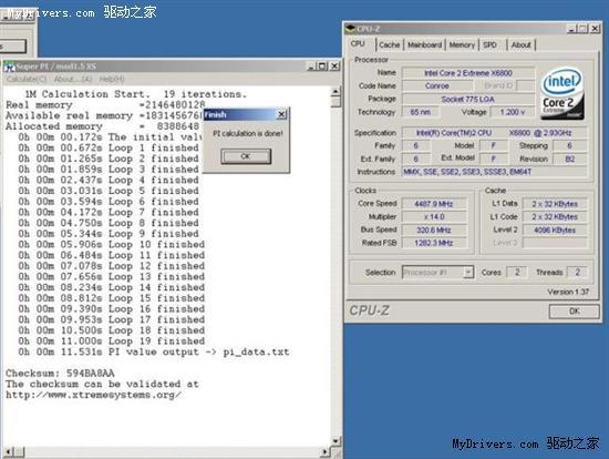 四核心X6800液氮超频5.3GHz实录