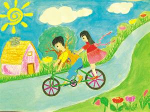 蓝,绿色为主调的画面,体现出孩子对大自然的向往.