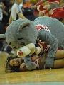 图文:[NBA]火箭vs勇士 火箭熊非礼啦啦队