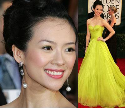 黄色电影zaosuo_2006年1月16日,章子怡着靓丽黄色礼服亮相第63届美国电影电视金球奖
