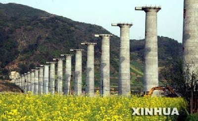 襄渝铁路复线工程的控制性工程――全长2301.92米的大峡河特大桥桥墩即将浇筑完成。新华社发 疏王炀 摄