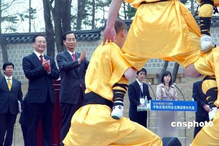 中国总理温家宝和韩国总理韩德洙10日在首尔景福宫集玉斋共同会见了中韩两国青年代表团一行约三百人。会见以后,两国总理共同观赏了中国青年表演的少林功夫和韩国青年的街舞。图为中韩两国总理观赏中国少林功夫中的罗汉塔。中新社发 孙宇挺 摄