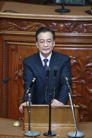 4月12日,正在日本进行正式访问的中国国务院总理温家宝在日本国会众议院发表演讲。