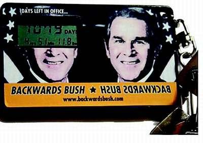 钥匙扣电子显示屏幕上将布什执掌白宫的时间精确到秒。