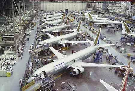 波音737-900飞机的总装车间
