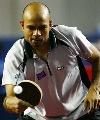 图文:巴西乒乓球公开赛 加拿大选手保罗比赛中