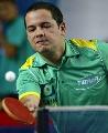图文:巴西乒乓球公开赛 本土选手赫伊洛比赛中
