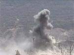 平陆县取缔非法铝石企业,用炸药炸毁了非法煅烧的铝石炉。