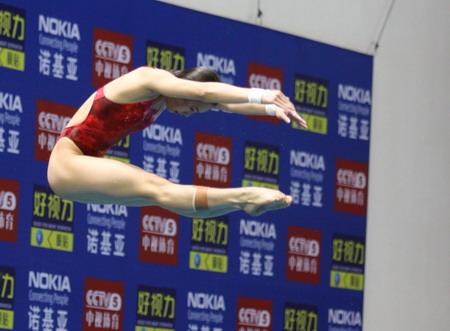 图文:国际跳水冠军巡回赛珠海站 李婷训练