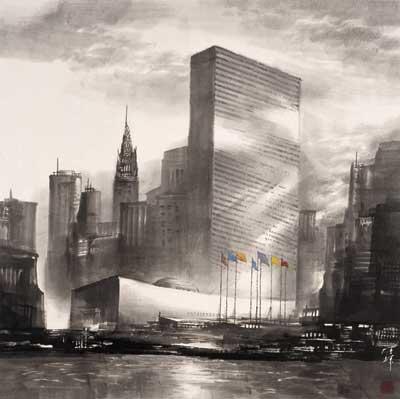 陈辉作品《美国纽约联合国总部大楼》