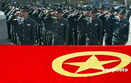 北京东城千名奥运保安员宣誓。