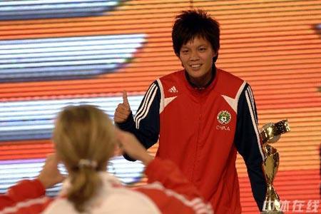 图文:[女足]07世界杯抽签 李洁信心十足
