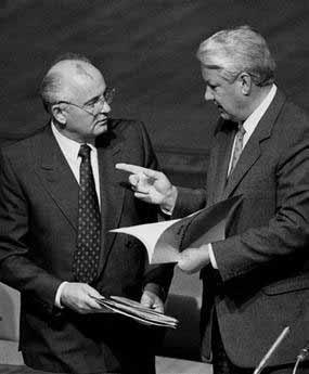 俄罗斯克里姆林宫发言人4月23日称,俄前总统叶利钦已经逝世。图为1991年叶利钦和戈尔巴乔夫在一起。