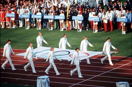 图文:1972慕尼黑奥运会 奥运会旗入场仪式