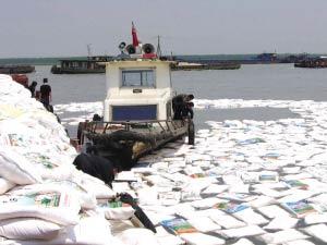 2000袋面粉漂在江面