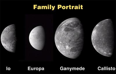 """""""新视野号""""发回的四大著名的木卫星图片,从左往右依次为:木卫一爱莪(Io)、木卫二欧罗巴(Europa)、木卫三盖尼米得(Ganymede)、木卫四卡利斯托(Callisto)。"""