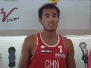 图文:沙排上海公开赛首日 吴鹏根接受记者采访