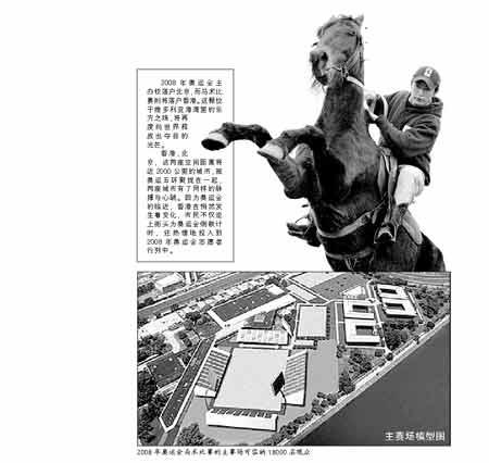 2008年奥运会马术比赛的主赛场可容纳18000名观众 主赛场模型图