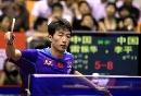 图文:男乒厦门热身 黑马李平比赛中大力回球