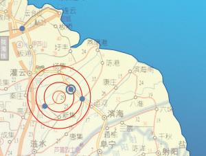 发生地震的位置(画圈处)。