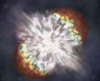 有史以来最强的超新星爆发。示意图