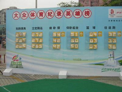 图文:伊利奥运健康中国行 比赛成绩一目了然