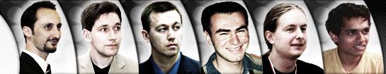 左起为:托帕洛夫、亚当斯、卡姆斯基、马梅迪亚洛夫、尼斯皮亚努、萨斯基兰