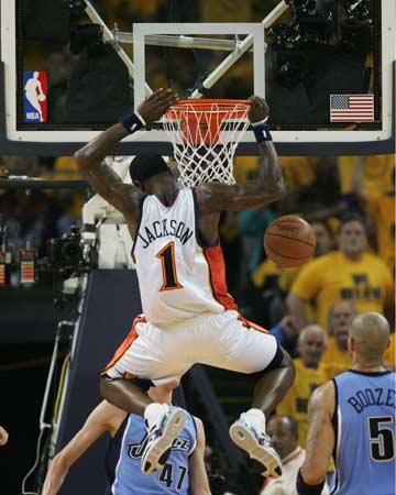 图文:[NBA]勇士VS爵士 杰克逊大力扣篮