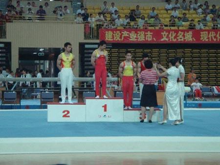 图文:全国体操冠军赛  陈一冰吊环决赛夺冠