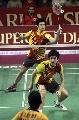 图文:印尼羽毛球超级系列赛夺冠 付海峰在击球