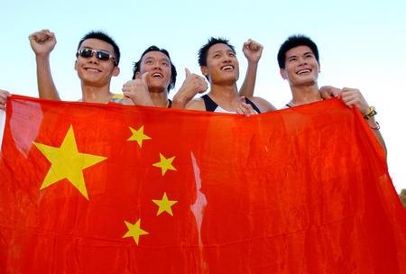 中国现代五项名将曹忠嵘、钱震华、刘杨、刘炎立(从左至右 资料图)