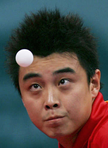 图文:王励勤世乒赛卫冕对手 冲击波--王皓