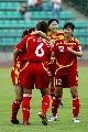 图文:[热身赛]女足VS韩国次战 队员庆祝进球