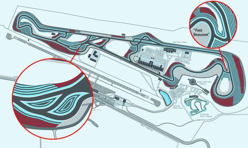 """赛道图左下方是模仿日本铃鹿赛道DUNLOP弯的""""S""""弯路线"""